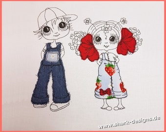 Embroidery Set Dolls Jeansboy and Shamrock Doll