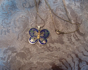 Vintage Cloisonne Butterfly Necklace.