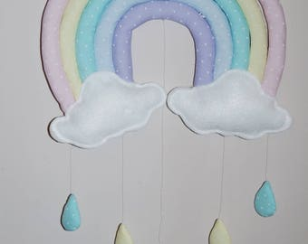 Pastel rainbow with clouds and raindrops nursery mobile, wall decor, shower gift