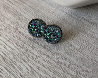 Iridescent Charcoal Grey 12mm Studs