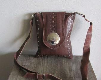Handmade bag genuine leather, Moroccan leather handbag, Women bag brown, Leather crossbody bag, Boho chic bag, Leather bag with stuts