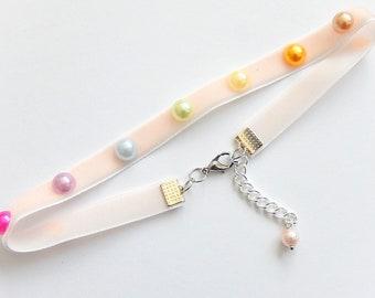 Pastel Rainbow Choker Necklace, Pink Velvet Choker, Fairy Kei, 90s Jewelry, Grunge, Retro