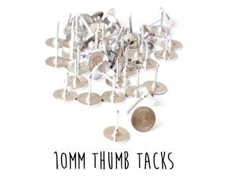 50 pieces - Tie Tacks - 10mm - Push Pins - Thumb Tack Blanks - Glueable Pad - 9mm length
