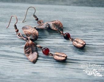 Coffe bean copper earrings, Leaf  Earrings, Rustic asymmetric Earrings, Boho Chic earrings, Dangle Earrings, Statement Jewelry, real coffe