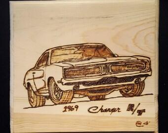 1969 Dodge Charger Wood Burning