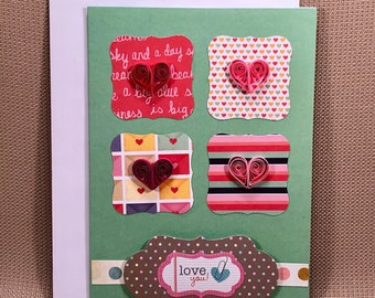 Love You Paper Quilled Greeting Card