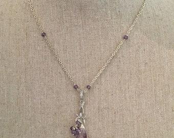 Pink Amethyst Purple Amethyst Sterling Necklace
