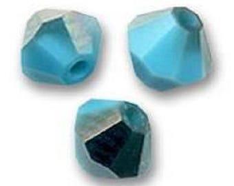 20 Swarovski 4mm turquoise satin Swarovski Crystal bicone beads