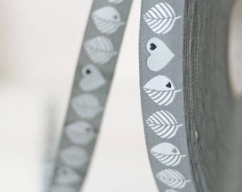 WebBand Farbenmix ByGraziela leaves and Hearts grey