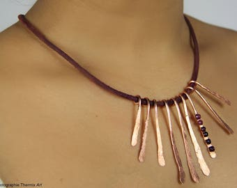 Hammered copper bib necklace and leather
