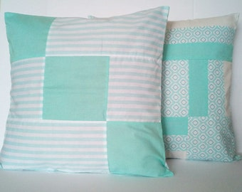 """Aqua blue patchwork pillow, Set of 2 decorative pillows, 18"""" X 18"""" throw pillow cover - Choose any two"""