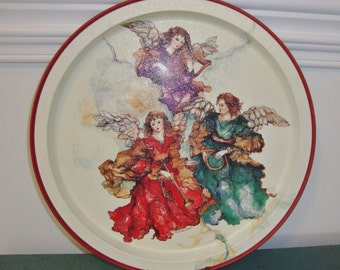 Vintage Round Metal Tray Angels Christina Ladas