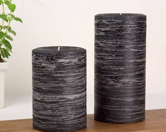 Black Candle - Rustic Pillar - Various Sizes - Black Home Decoration - Modern Home Decor - Rustic Home Decor - New Home Decor