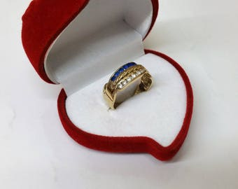 Ring gold 585 clear and Blue Crystal beads GR148
