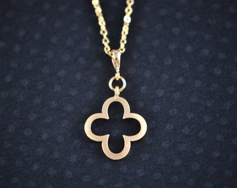 Gold Clover Necklace - Modern Clover Necklace - Good Luck Necklace - Clover Jewelry - Aldari Jewelry Designs