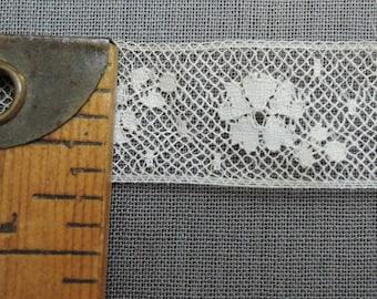 2-3/4 Yards Lace Antique 1900s, Floral 3/4 inch wide ivory cotton Vintage Trim Edwardian