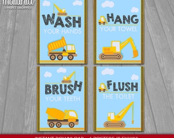 Construction Children's Bathroom Wall Art 8x10 Kid's Bathroom Decor, Nursery Decor Construction Bathroom Set of 4 Prints Nursery Prints