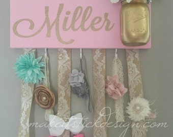 Headband Bow Holder, Custom Name Board, Baby Girl, Pink Painted Board