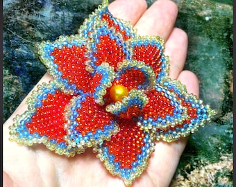 Pattern & tutorial for beaded fire flower - DIY artisan jewelry - how to bead a flower