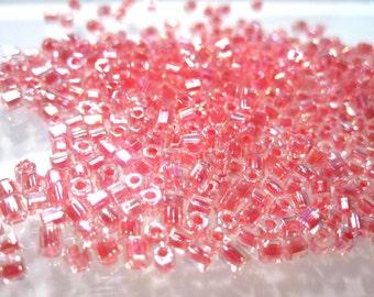 Miyuki Seed Beads, 10 grams, Clear Color lined Pink Rainbow Miyuki 8/0 See Beads Transparent 2 Cut Hex  No. 8