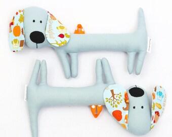 Greyish-Blue Rattling Dachshund / Rattle / Stuffed Dog Sewed Premium Quality Fabric / Soft Toy / Rattle