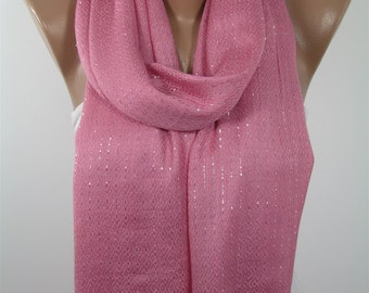 Valentines Gift For Her Sparkle Scarf Pink Scarf Shawl  Scarf  Fashion Scarf  Pink Wedding Scarf  Fashion Accessories Gift For Mom Holiday