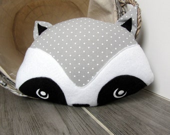 Decorative pillow gray raccoon with white polka dots