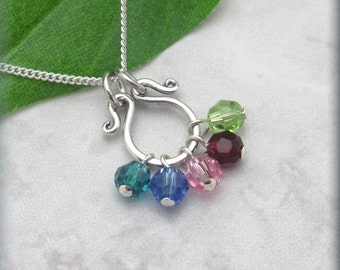 Mothers Day Birthstone Necklace, Mothers Day Gift, Grandmothers Necklace, Grandma, Mommy Jewelry, Mom, Keepsake Jewelry, Simple