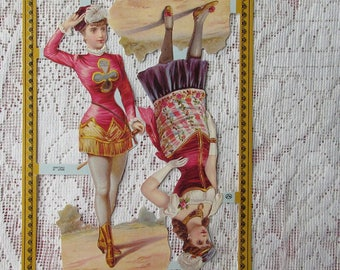 England Vintage Victorian Circus Lady Performers Lithographed Die Cut Paper Scraps A 86 Out Of Print