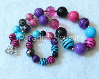 Chunky Necklace, Animal Print, Bubblegum Bead Set, Kids Size, Just For Fun, Baby, Toddler Necklace, Photo Prop, Purple Pink Aqua