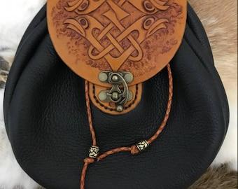 Black & Tan Celtic Knot Leather Sporran