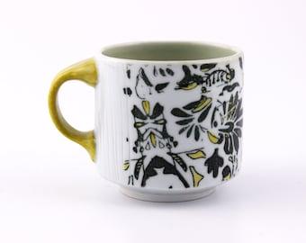 Floral Coffee Mug // Black White Yellow // Porcelain // Handmade Wheel Thrown Pottery