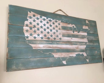 United States American Flag Planked Wood Rustic