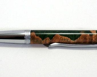 pen, ballpoint, maple burl, 2 tone chrome