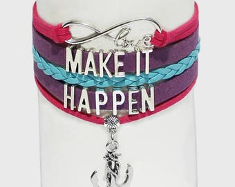 Make It Happen Bracelet | Inspiration Jewelry | Mindset Jewelry | Law of Attraction Bracelet | Mantra Bracelet | Confidence Jewelry | Anchor