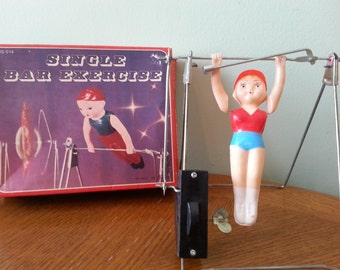 Vintage Wind Up Toy, Single Bar Exercise, Gymnast Toy