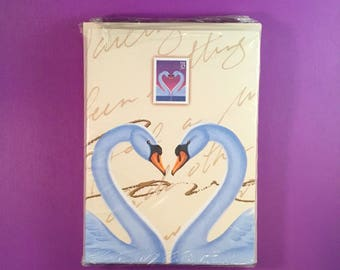 1997 SWAN LOVE STAMP Note Card and Envelope Set  (of 15) United States Postal Service