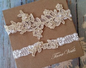 wedding garter, Bridal garter set , Light Gold Garter, wedding garters, bridal garter, Floral lace garter, Vintage Garter,Single Garter