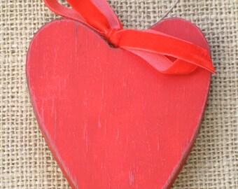 Heart Ornament, Red Wood Heart Ornament, Wood Valentine Ornament