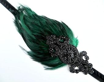 Great Gatsby Headpiece, Green Feather Headband, 1920s headband, Gatsby headband, 1920s hair accessory, Flapper headpiece, Flapper dress