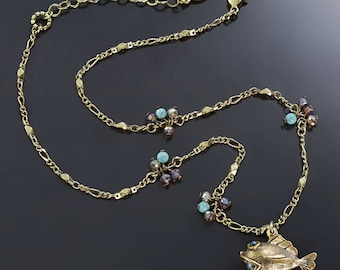 Little Fish Ocean Necklace, Fish Necklace, Fish Jewelry, Pearl Jewelry, Gold Necklace, Charm Necklace, Ocean Jewelry N1549
