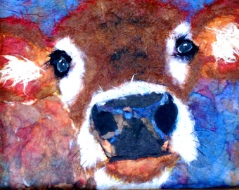 """Print Cow Calf """"Come Spring"""" Beautiful Giclee vibrantly colored Art Prints Hand Embellished light Texturing Chigiri-e Torn Paper Art"""