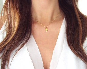 Palm Tree Necklace | Gold Palm Tree Charm Necklace | Silver Palm Tree Necklace Island Life Necklace