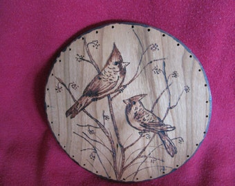 Wood Burnt Image of 2 Cardinals Basket Bottom or other Craft Projects