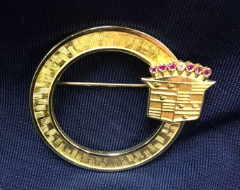Vintage 14K Gold Circular Brooch with Cadillac Crown Emblem with Rubies and a Diamond