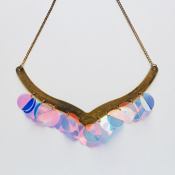 Reflection of the sunlight on water necklace - WOW necklace - Hologram sequin jewelry - Hologram festival jewel - Gift for her - Accessory