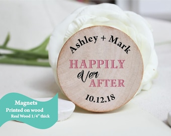 Wooden Wedding Favor Wood Magnets - Custom Save the date  made to order favors rustic wedding unique wedding magnet rustic wedding favors
