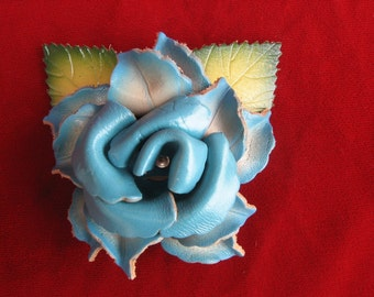 Vintage 70s-80s Blue Leather Rose Brooch Costume Jewelry/ Boho/ Retro /Shabby Chic