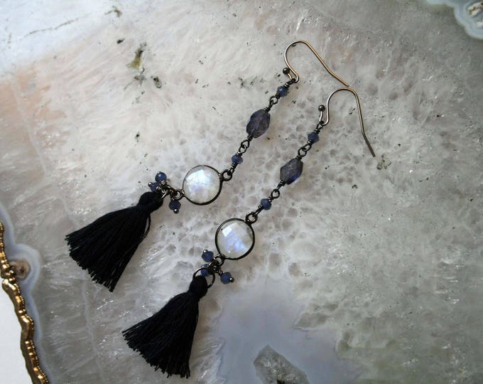 Rainbow Moonstone and Iolite Tassel Earrings
