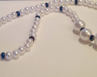 White Pearl Necklace with Cobalt Blue Accents